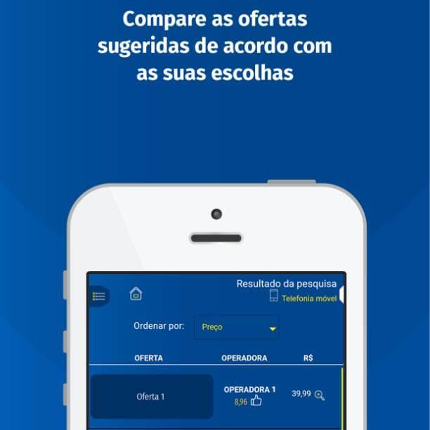 Aplicativo mobile comparador ANATEL texto compare ofertas