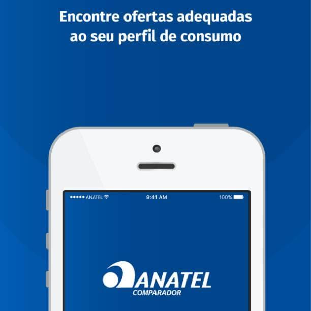 Aplicativo mobile comparador ANATEL texto selecione ofertas adequadras