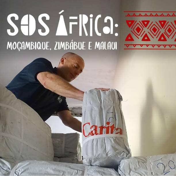 Campanha SOS África Caritas Brasileira Homem com saco de mantimentos