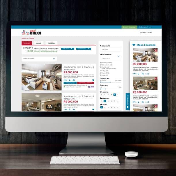 Computador com site Portal Imobiliário CRECI SP na tela de busca de imóvel