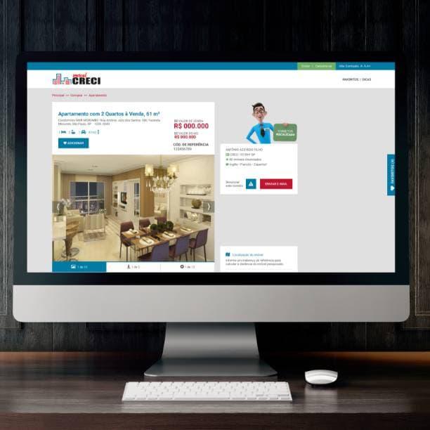 Computador com site Portal Imobiliário CRECI SP na tela de detalhamento de apartamento formuário respondido
