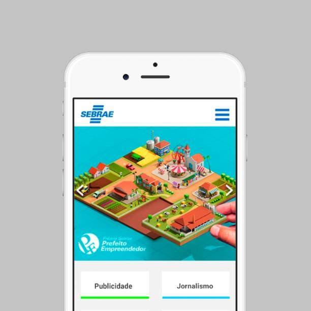 Celular com a home do aplicativo UMC SEBRAE
