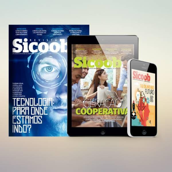 Revista digital SICOOB impresso, tablet e mobile