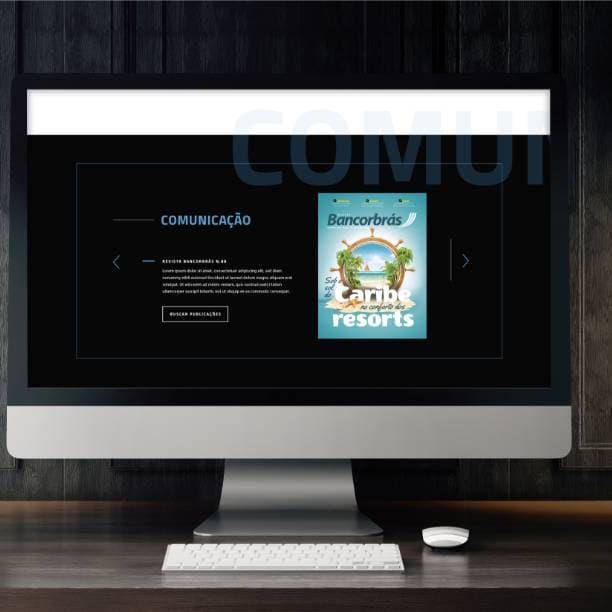 Computador do site memórias Bancorbrás página sobre a comunicação